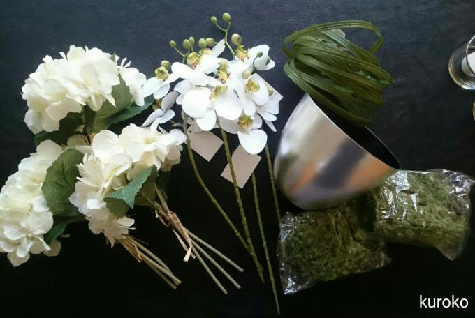 花市場で購入した花と花器